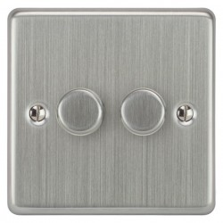 Focus SB Victorian VSC22.2 2 gang 2 way 400W (mains and low voltage) dimmer in Satin Chrome