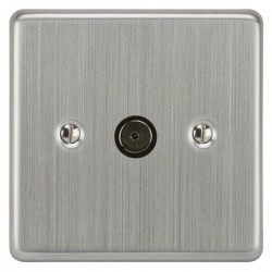 Focus SB Victorian VSC23.1 1 gang isolated co-axial TV socket in Satin Chrome