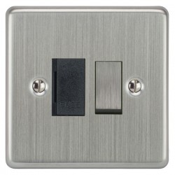 Focus SB Victorian VSC26.1B 13 amp switched fuse spur in Satin Chrome with black inserts