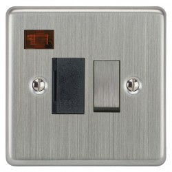 Focus SB Victorian VSC27.1B 13 amp switched fuse spur with neon in Satin Chrome with black inserts