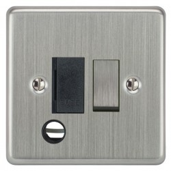 Focus SB Victorian VSC28.1B 13 amp switched fuse spur with cord outlet in Satin Chrome with black inserts