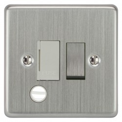 Focus SB Victorian VSC28.1W 13 amp switched fuse spur with cord outlet in Satin Chrome with white inserts