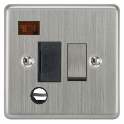 Focus SB Victorian VSC29.1B 13 amp switched fuse spur with cord outlet and neon in Satin Chrome with black inserts