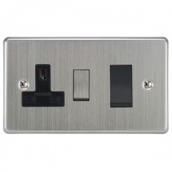 Focus SB Victorian VSC34.1B 45 amp cooker control switch and 13 amp switched socket. in Satin Chrome with black inserts