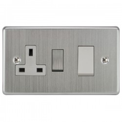 Focus SB Victorian VSC34.1W 45 amp cooker control switch and 13 amp switched socket. in Satin Chrome with white inserts