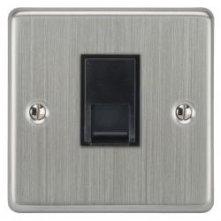 Focus SB Victorian VSC51.1B 1 gang CAT5 RJ45 socket in Satin Chrome with black inserts