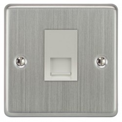 Focus SB Victorian VSC51.1W 1 gang CAT5 RJ45 socket in Satin Chrome with white inserts