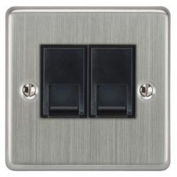 Focus SB Victorian VSC51.2B 2 gang CAT5 RJ45 socket in Satin Chrome with black inserts