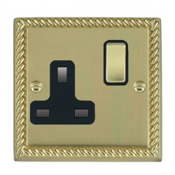 Hamilton Cheriton Georgian Polished Brass 1 Gang 13A Switched Socket - Double Pole with Black Insert