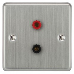 Focus SB Victorian VSC67.1 1 gang speaker outlet (1 red 1 black 4mm socket) in Satin Chrome