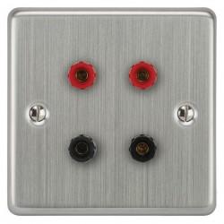 Focus SB Victorian VSC67.2 2 gang speaker outlet (2 red 2 black 4mm socket) in Satin Chrome