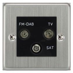 Focus SB Victorian VSC80.3B triplex TV/FM/Satellite outlet in Satin Chrome with black inserts
