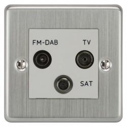 Focus SB Victorian VSC80.3W triplex TV/FM/Satellite outlet in Satin Chrome with white inserts