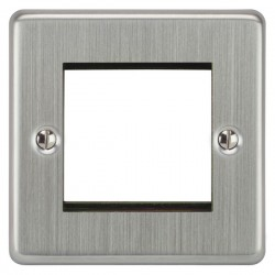 Focus SB Victorian VSCEUR.2 single aperture plate for two single euro modules in Satin Chrome