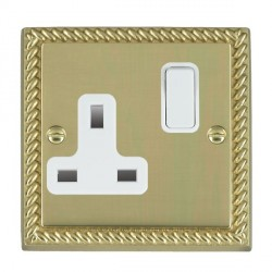 Hamilton Cheriton Georgian Polished Brass 1 Gang 13A Switched Socket - Double Pole with White Insert