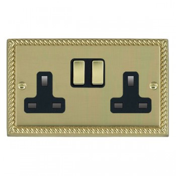 Hamilton Cheriton Georgian Polished Brass 2 Gang 13A Switched Socket - Double Pole with Black Insert