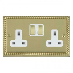 Hamilton Cheriton Georgian Polished Brass 2 Gang 13A Switched Socket - Double Pole with White Insert