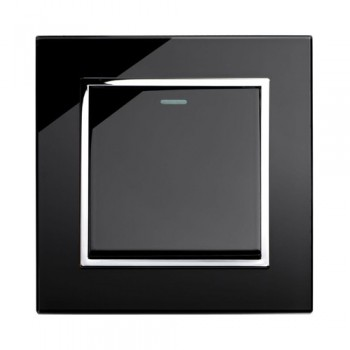 Retrotouch Crystal Black Chrome Trim 1 Gang 2 Way Mechanical Light Switch