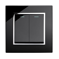 Retrotouch Crystal Black Chrome Trim 2 Gang 2 Way Mechanical Light Switch