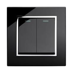 Retrotouch Crystal Black Chrome Trim 2 Gang 2 Way Mechanical Light Switch