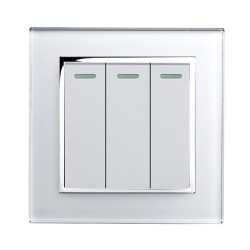 Retrotouch Crystal White Chrome Trim 3 Gang 2 Way Mechanical Light Switch