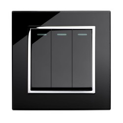 Retrotouch Crystal Black Chrome Trim 3 Gang 2 Way Mechanical Light Switch