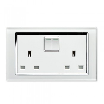 Retrotouch Crystal White Chrome Trim 13A Double Switched Socket