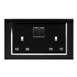 Retrotouch Crystal Black Chrome Trim 13A Double Switched Socket