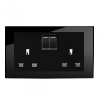 Retrotouch Crystal Black Plain Glass 13A Double Switched Socket