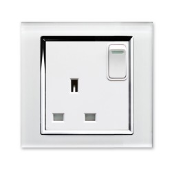 Retrotouch Crystal White Chrome Trim 13A Single Switched Socket