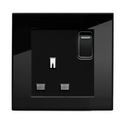 Retrotouch Crystal Black Plain Glass 13A Single Switched Socket