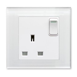 Retrotouch Crystal White Plain Glass 13A Single Switched Socket