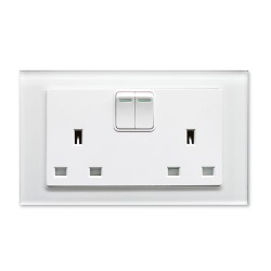 Retrotouch Crystal White Plain Glass 13A Double Switched Socket