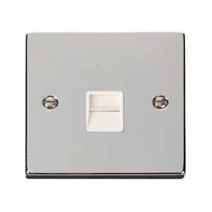 Click Deco Victorian Polished Chrome Single Telephone Socket Outlet Secondary with White Inserts