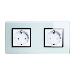 Retrotouch Crystal White Chrome Trim 13A Double Unswitched SHUKO Socket
