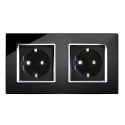Retrotouch Crystal Black Chrome Trim 13A Double Unswitched SHUKO Socket
