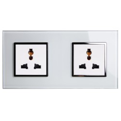 Retrotouch Crystal White Chrome Trim 13A Double Multifunction Socket