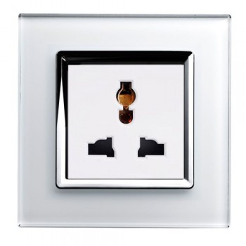 Retrotouch Crystal White Chrome Trim 13A Single Multifunction Socket