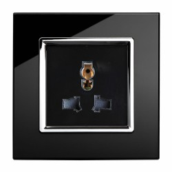 Retrotouch Crystal Black Chrome Trim 13A Single Multifunction Socket