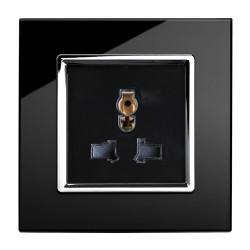 Retrotouch Crystal Black Chrome Trim 13A Single Multifunction Socket