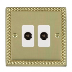 Hamilton Cheriton Georgian Polished Brass 2 Gang Non Isolated Television 2in/2out with White Insert