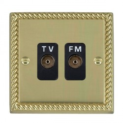 Hamilton Cheriton Georgian Polished Brass 2 Gang Isolated Television/FM 1in/2out with Black Insert