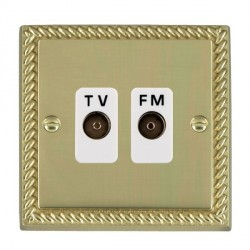 Hamilton Cheriton Georgian Polished Brass 2 Gang Isolated Television/FM 1in/2out with White Insert