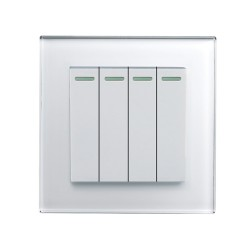 Retrotouch Crystal White Plain Glass 4 Gang 2 Way Mechanical Light Switch