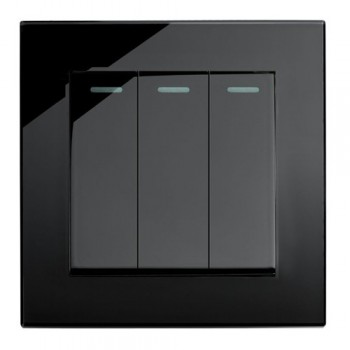 Retrotouch Crystal Black Plain Glass 3 Gang 2 Way Mechanical Light Switch