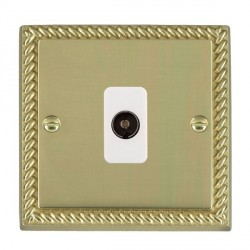 Hamilton Cheriton Georgian Polished Brass 1 Gang Non Isolated Television 1in/1out with White Insert