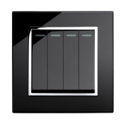 Retrotouch Crystal Black Chrome Trim 4 Gang 2 Way Mechanical Light Switch
