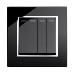 Retrotouch Crystal Black Chrome Trim 4 Gang 2 Way Mechanical Light Switch