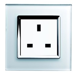 Retrotouch Crystal White Chrome Trim 13A Single Unswitched Socket