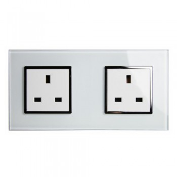 Retrotouch Crystal White Chrome Trim 13A Double Unswitched Socket